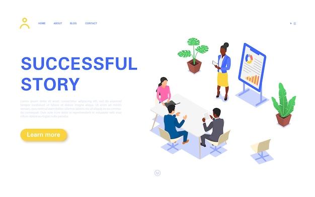 Página de destino de história de sucesso