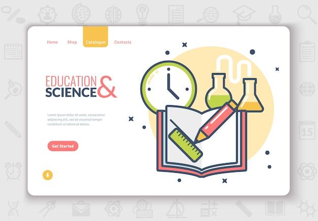 Página de destino de ícones plana de educação