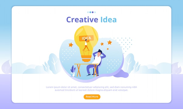 Página de destino de idéias criativas