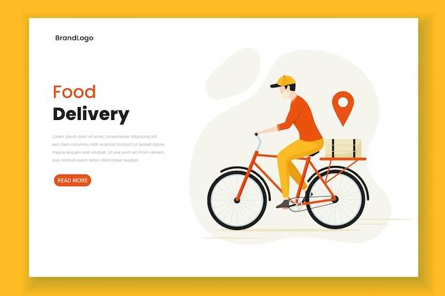 Página de destino de ilustração de entrega de comida de design plano