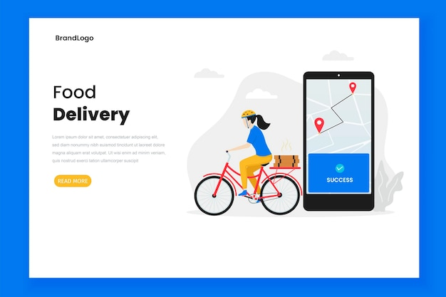 Página de destino de ilustração de entrega de comida
