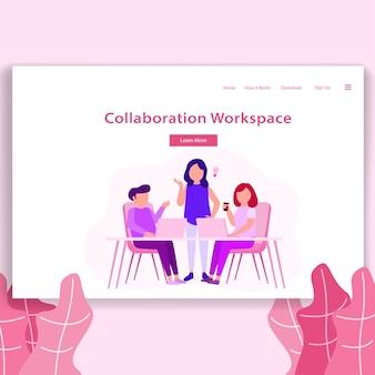Página de destino de ilustração de espaço de coworking