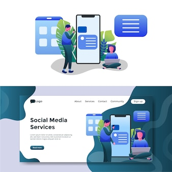 Página de destino de ilustração de serviços de mídia social