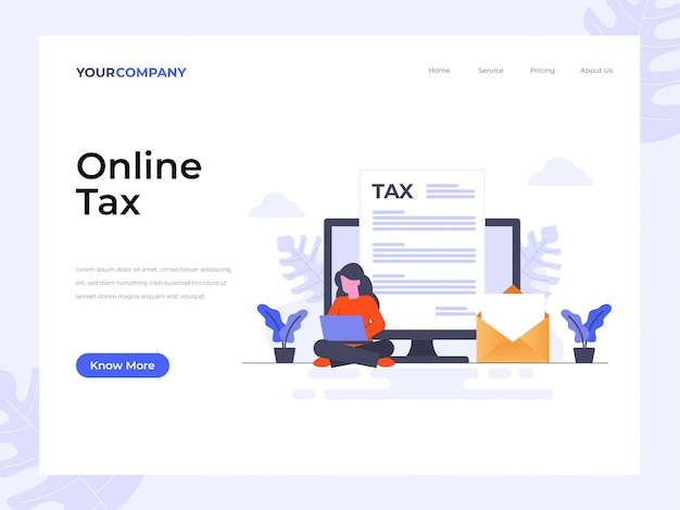 Página de destino de imposto on-line