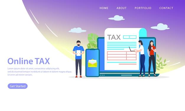 Página de destino de impostos on-line