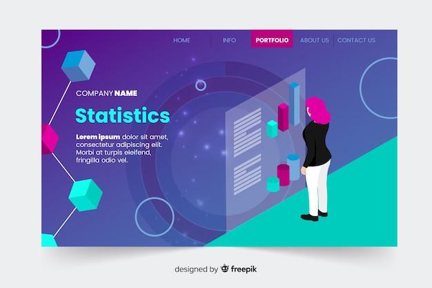 Página de destino de infográfico isométrica