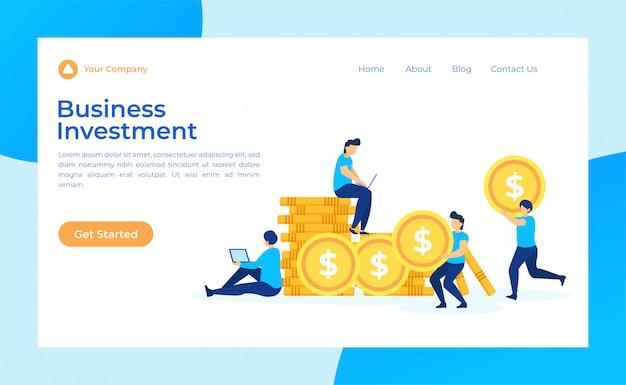 Página de destino de investimento empresarial