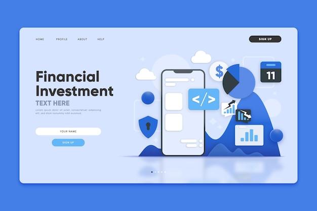 Página de destino de investimento financeiro