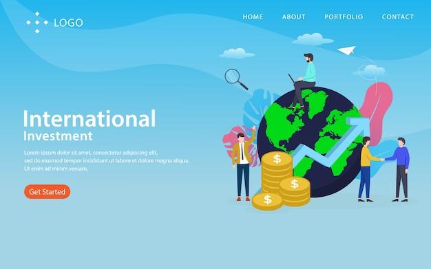 Página de destino de investimento internacional