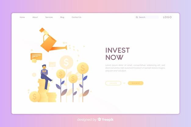 Página de destino de investimento