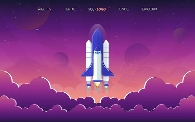 Página de destino de lançamento de foguete no espaço roxo