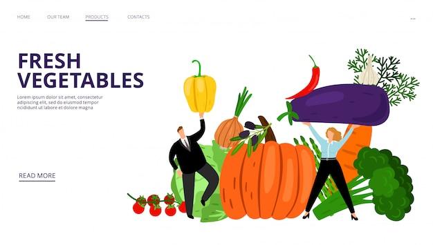 Página de destino de legumes frescos. pessoas, abóbora, pimenta, azeitonas, tomates. modelo de página da web de mercado agrícola