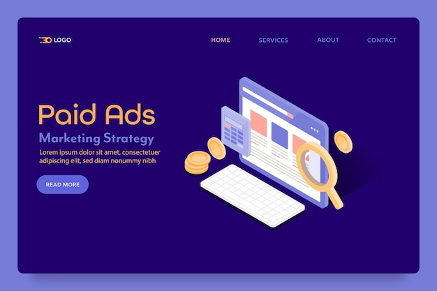Página de destino de marketing de anúncios pagos