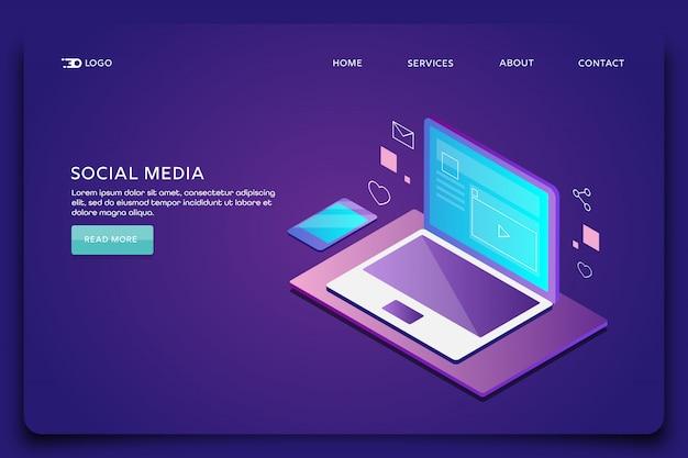 Página de destino de marketing de mídia social