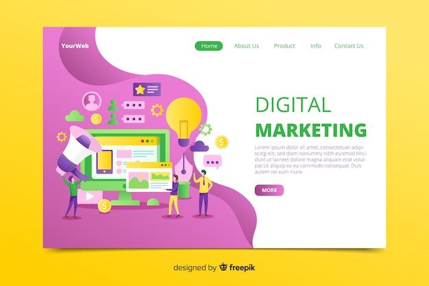 Página de destino de marketing digital desenhada à mão