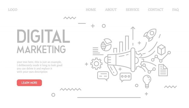 Página de destino de marketing digital no estilo doodle