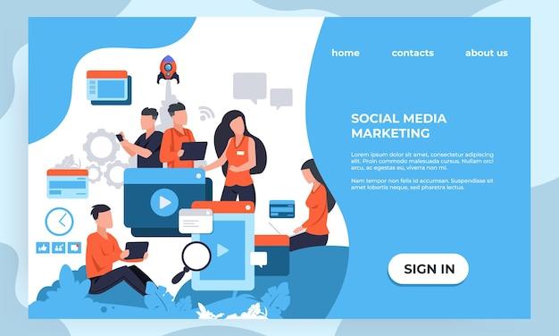 Página de destino de marketing. seo e conceito analítico de negócios com personagens de desenhos animados, modelo de design de página da web. ilustrações vetoriais banner moderno criativo agência corporativa