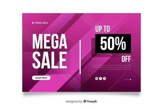 Página de destino de mega venda abstrata