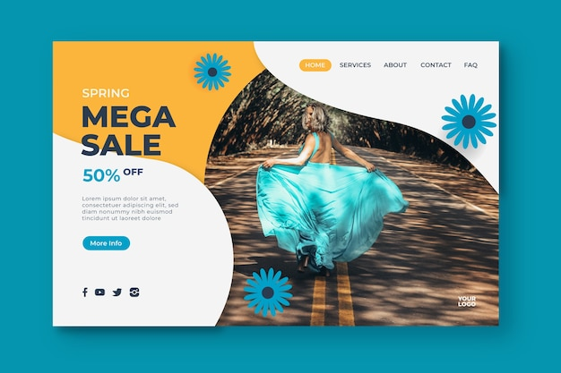 Página de destino de mega venda de primavera e flores azuis