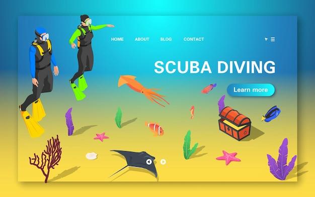 Página de destino de mergulho autônomo