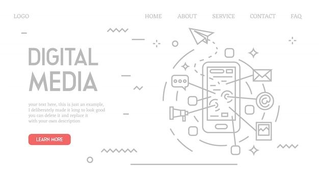 Página de destino de mídia digital no estilo doodle