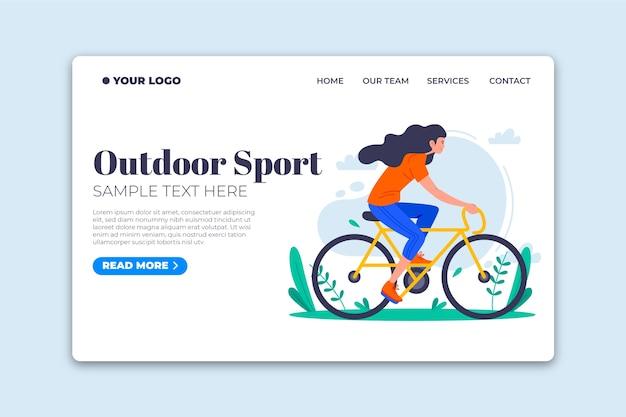 Página de destino de modelo de design plano de esporte ao ar livre