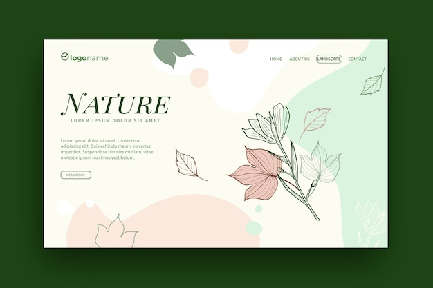 Página de destino de modelo de natureza desenhada de mão