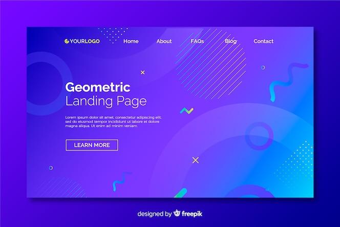 Página de destino de modelos geométricos gradientes