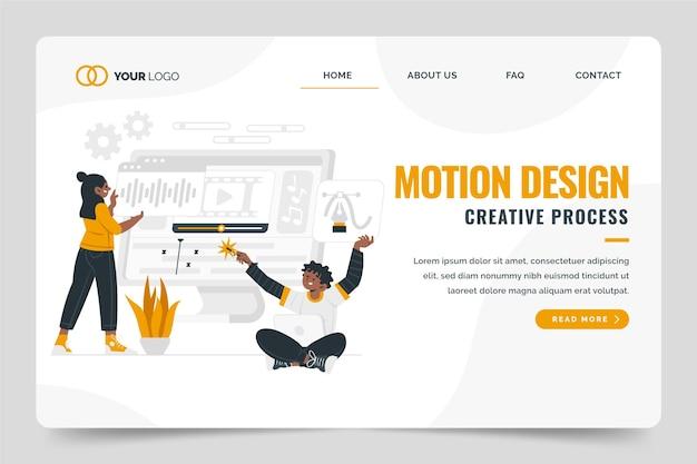 Página de destino de motiongraphics de design plano orgânico