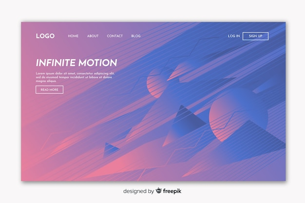 Página de destino de movimento infinito geométrico