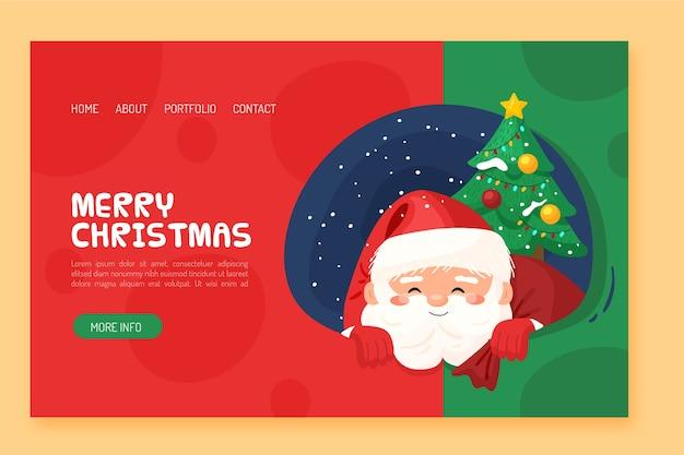 Página de destino de natal de design plano com papai noel e árvore