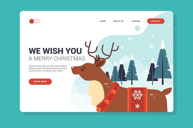 Página de destino de natal de design plano com renas