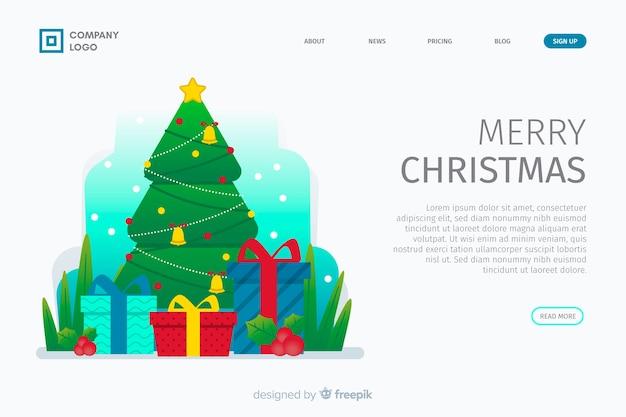 Página de destino de natal de design plano