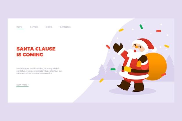 Página de destino de natal de design plano Vetor grátis
