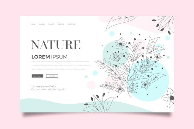Página de destino de natureza de modelo desenhado à mão