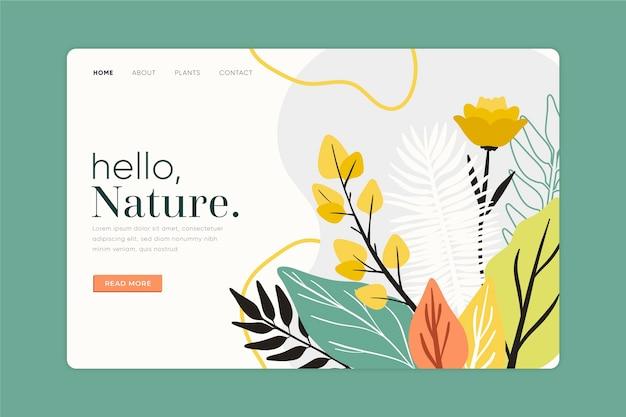 Página de destino de natureza desenhada de mão de modelo