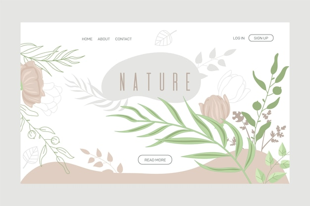 Página de destino de natureza desenhada de mão