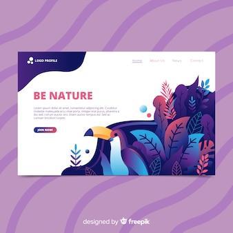 Página de destino de natureza desenhada mão