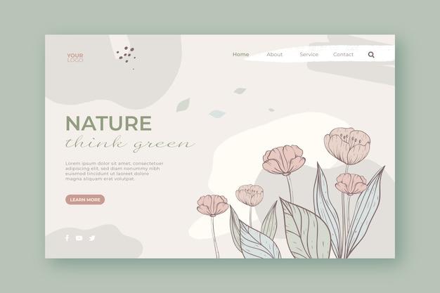 Página de destino de natureza linda mão desenhada