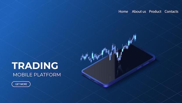 Página de destino de negociação online gráfico de dados de crescimento ilustração isométrica de investimento