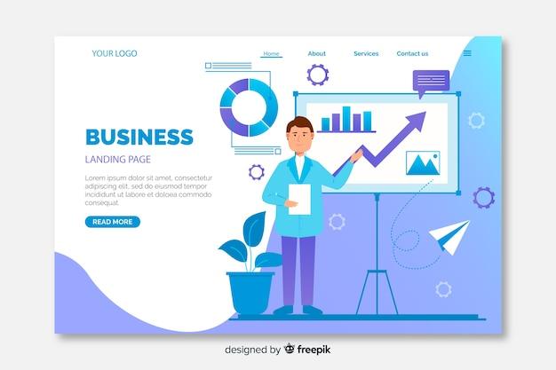 Página de destino de negócios coloridos