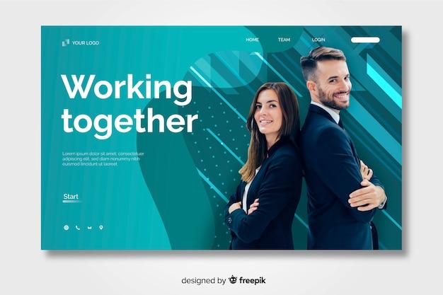 Página de destino de negócios com foto
