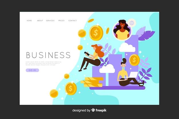 Página de destino de negócios com moedas de dinheiro