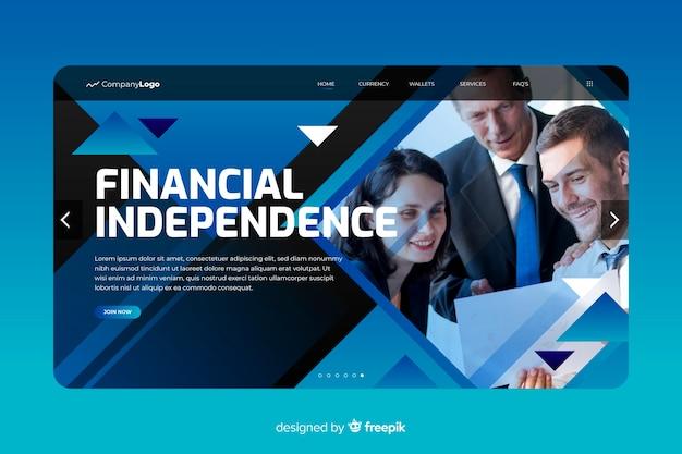 Página de destino de negócios de independência financeira com foto