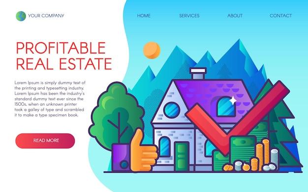 Página de destino de negócios imobiliários lucrativos.