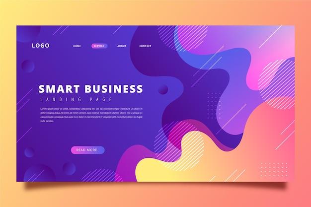 Página de destino de negócios inteligente de gradiente