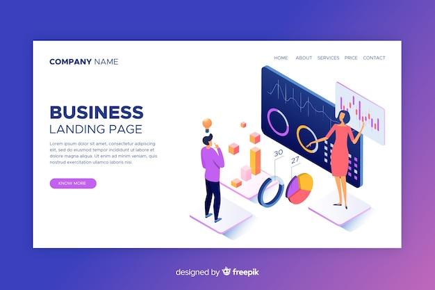 Página de destino de negócios isométrica