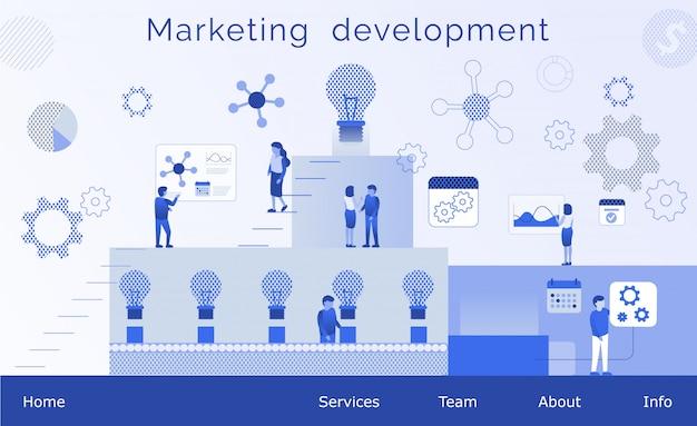 Página de destino de negócios plana de desenvolvimento de marketing