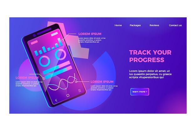 Página de destino de néon com modelo de smartphone