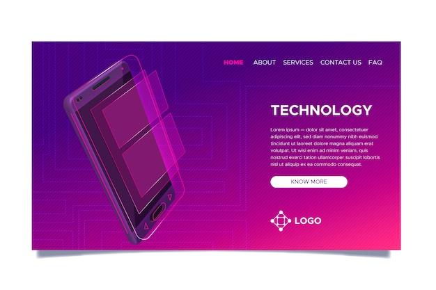 Página de destino de néon com smartphone